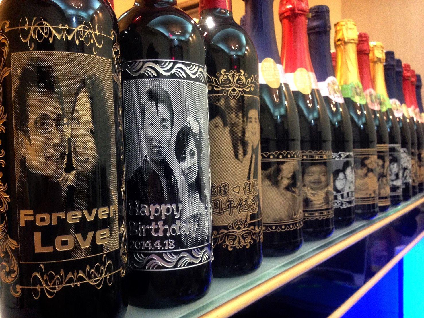 真實照片2位紅酒瓶雕